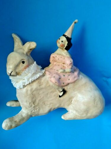 Retired Nicole Sayre Fairy Party Girl Riding Easter Bunny Figure 2004 - HTF