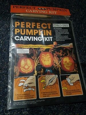 Vintage Antique Perfect Pumpkin Carving Kit 1988 Plus Tool Halloween Spooky New