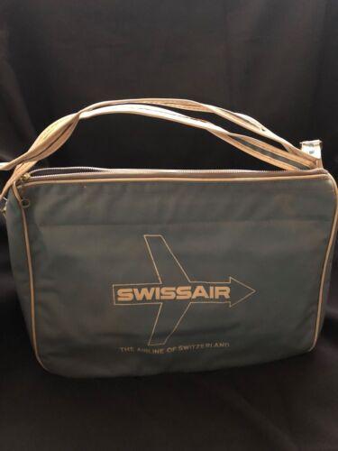Vintage Swissair Flight Bag 13 in W x 10 in H x 5.5 in D