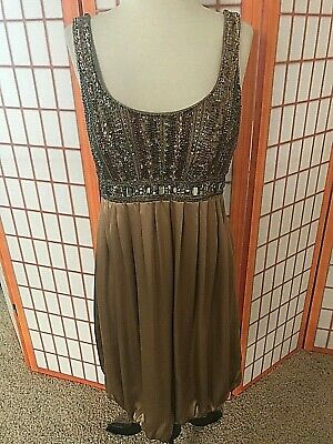 SUE WONG Beaded Brown Silk bubble Cocktail Dress 8