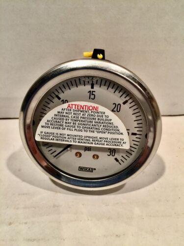 "Wika Pressure Gauge Industrial Liquid Filled 213.53 1/4"" NPT 30 psi  9767193 USA"