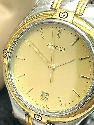 Gucci Men's Watch 9040M Two Tone Stainless Steel Swiss Quartz Gold Dial 35mm