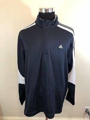 Adidas Jacket Men's Full Zip Track Navy Blue White 3 Stripe 2XL Hood Mid Weight