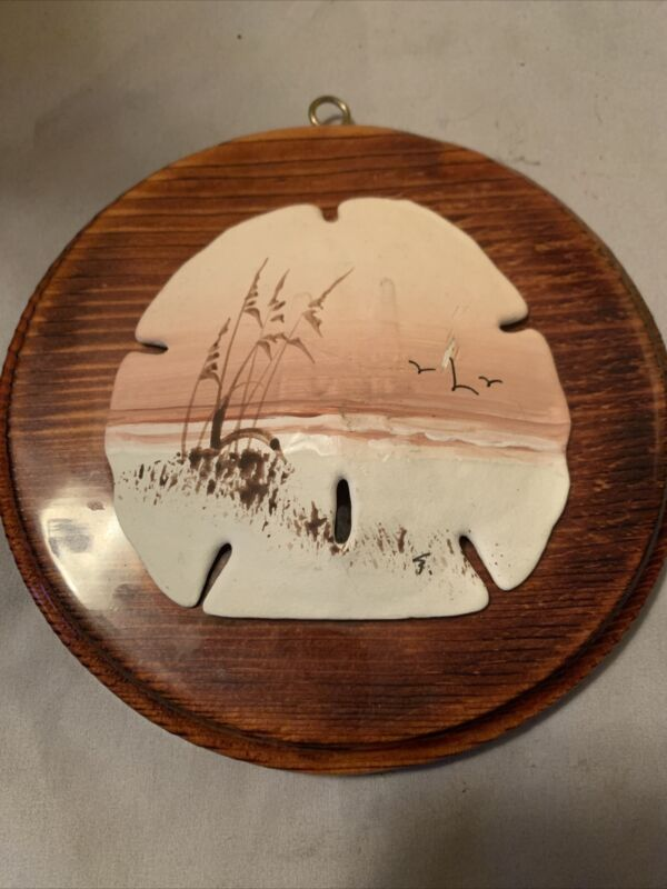 Hand Painted Authentic Sand Dollar Pink Sunset Beach Scene Mounted On Wood