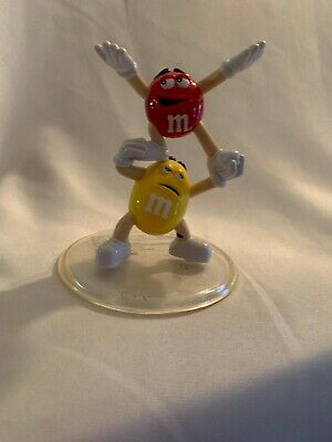 Vintage M&M Figures Yellow & Red Plastic Candy Display