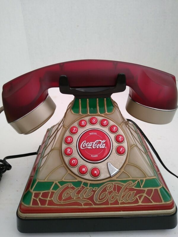 Vintage Stained Glass Look • Collectable Coca Cola Coke Desk Tested & Working.