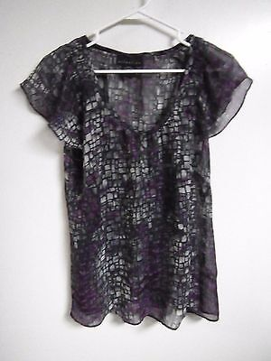 ATTENTION WOMENS SIZE LARGE PULL OVER Blouse TOP SHEER BAT WING SLEEVES