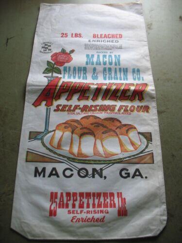 NOS Vintage Appetizer Macon GA Flour Bag 25 Lbs.