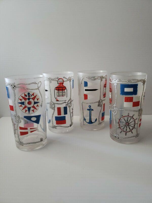 4 Tumbler Set HJ Stotter Nautical Sailing Anchor Boat Plastic Vintage Cups b36