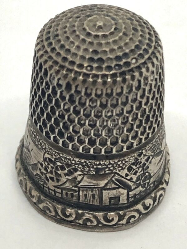 "Antique SIMON BROS ""Landscape"" Sterling Silver Victorian Thimble"