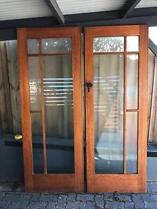 1930's Solid Timber and Glass Antique Double Doors. Trevallyn West Tamar Preview