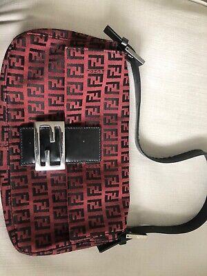 Fendi Baguette Zucca Handbag Mini Red Cloth
