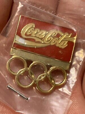 Vintage 1996 Coca Cola Atlanta Olympic Pin Gold Rings Lapel Pin Hat Pin Pushbac