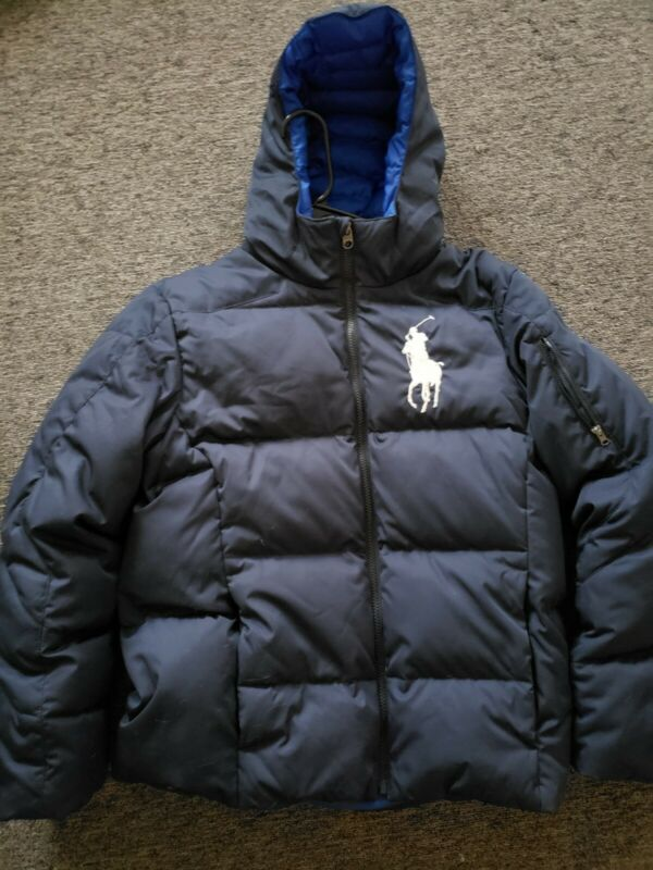 RALPH LAUREN POLO Boys Jacket Kids Down Puffer Coat Blue Size XL  Warm