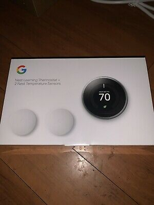Nest Learning Thermostat + 2 Temperature Sensors -(BH1252-US) Stainless Steel