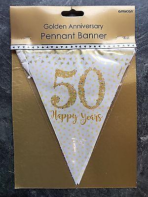 Boda Dorada Banderines Fiesta Decoración con Gas 50th Aniversario 4M Pancarta
