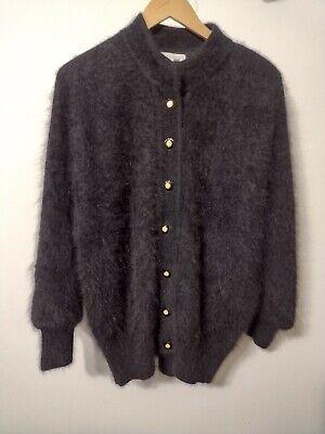 80s Sweatshirts, Sweaters, Vests | Women 1980's Vintage XL Belldini Black Angora Blend Sweater Jacket $40.00 AT vintagedancer.com