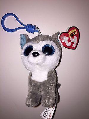 Ty Slush Husky Dog Beanie Boos Key Clip  New W Tag Cute  Adorable