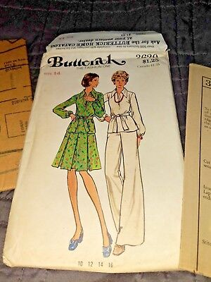 Pleated Top & Belted Pants - VTG 70s BUTTERICK 3620 MS Top Inverted Pleat Skirt Pants Belt PATTERN 14 / 36B