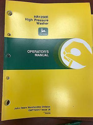 John Deere Operators Manual Hr1250e High Pressure Washer Omty24017 Used