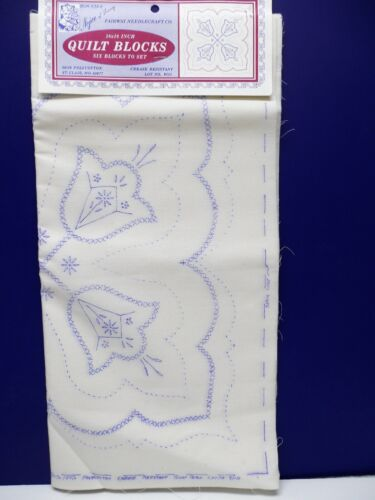 """6 Vintage Quilt Blocks TULIPS Stamped to Embroider NEW 18"""" Nojae * USA"""