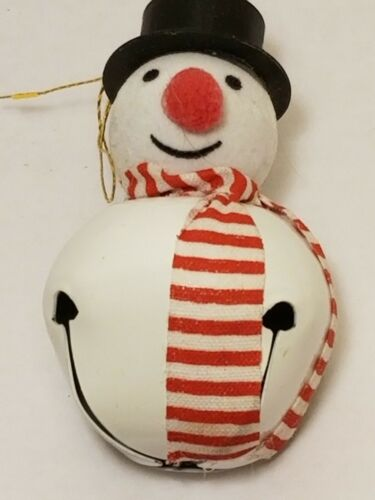 Adorable Snowman Metal Jingle Bell With Velvet Face Ornament 3""