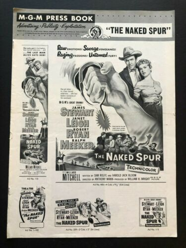 """The Naked Spur Original Movie Pressbook (1953) - 12 Pages - 12"""" x 17""""  EX"""