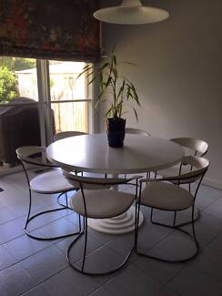Set of 6 Dining or Kitchen Leather arm Chairs