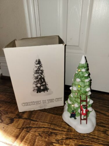Dept. 56 Christmas In The City LIGHTED TREE W/CHILDREN LADDER Please Read