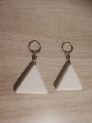 Schlüsselanhänger mit Maßband Rollenmaßband klein 1m Dreieck weiß einfach 2er RC