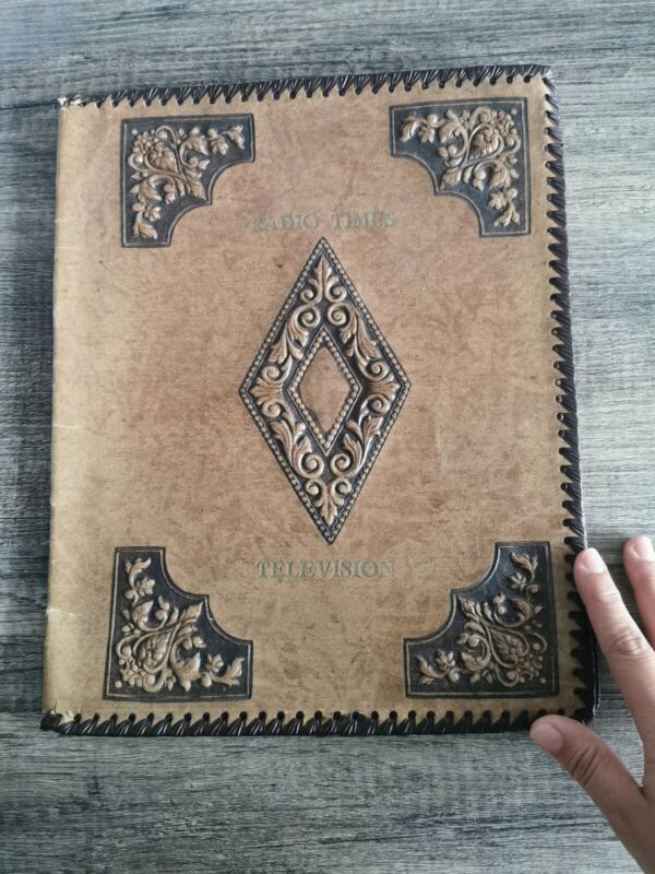 Vintage Antique Radio Times And Television Cover Leather Binder Collectable TV