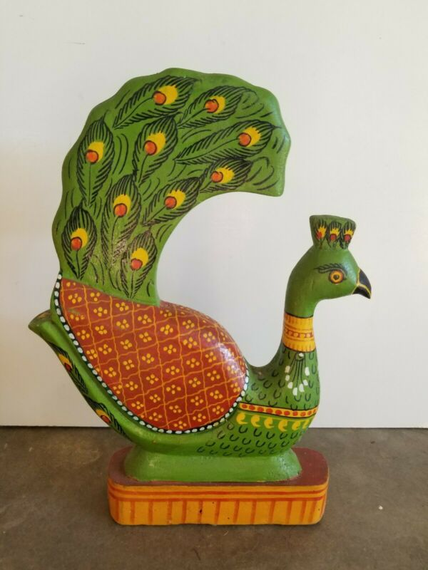 Vintage Folk Art Carved Wood Peacock Colorful India Hand Painted Boho Decor