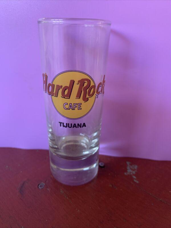 "Hard Rock Cafe 1990s 4"" Double SHOT GLASS souvenir TIJUANA Black Text"