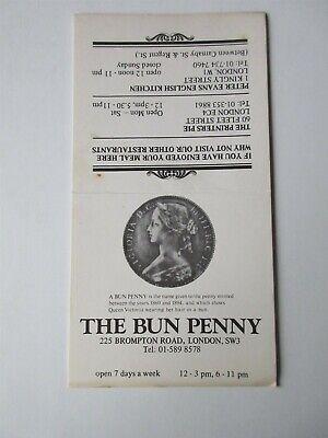 "The Bun Penny London Pub London vintage table advertising card 3.25"" x 6.25"""