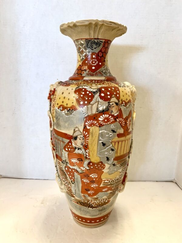 Antique 19th Century Satsuma Hand Painted Porcelain Ceramic Vase Urn Vessel