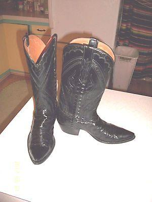 WOMEN'S CUSTOM LITTLES SAN ANTONIO COWBOY BOOTS BLACK OSTRICH & KANGAROO 8 - 8.5