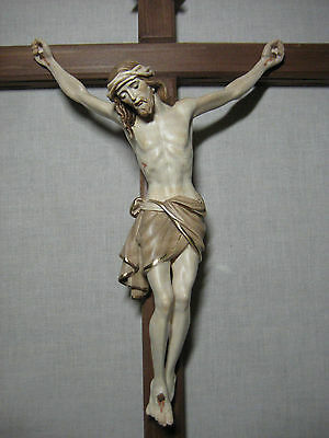 """18.5"""" Hand Carved, 3x Stained Crucifix with Gold Edging, PEMA"""