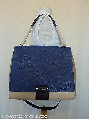NWT FURLA Ink Blue/Beige/Cream Pebbled Leather Large Penelope Shoulder Bag $698