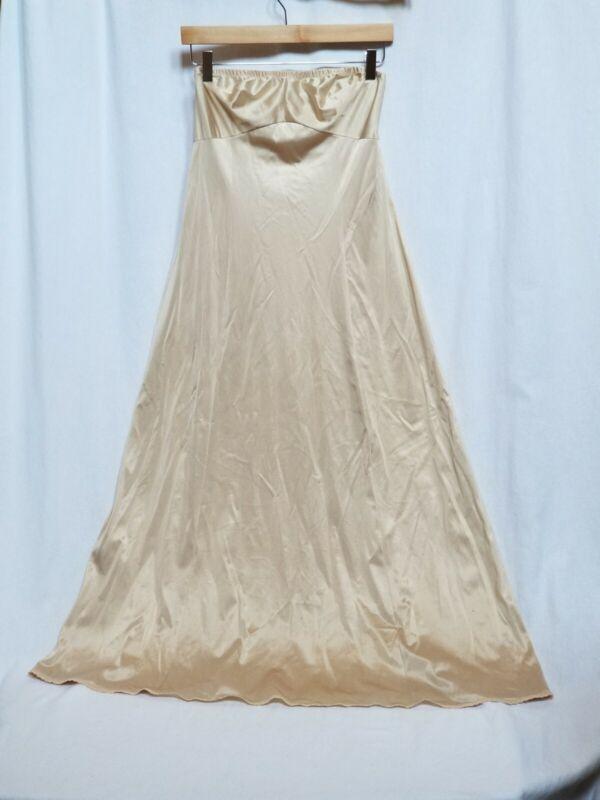 VTG Vanity Fair 60's Full Body Long Modest Beige Strapless Lace Slip Size 34 LL