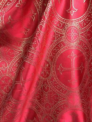 RED GOLD CROSS METALLIC BROCADE FABRIC (45 in.) Sold By The Yard](Red Brocade)