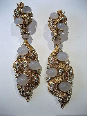 Vintage Crown Trifari Moonstone Cabochon with Rhinestone Dangle Earrings RARE!!!