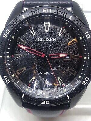 Citizen Mens Eco Drive Aw1585-04e Black Red Leather Analog Watch (read) #11