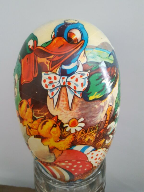 """Paper Mache 8"""" Candy Container Duck & Chicks Easter Egg   Made Western Germany"""