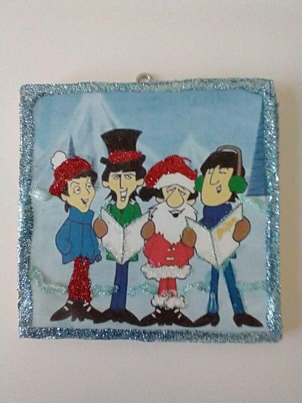 Vtg Image ~~The Beatles Cartoon Caroling ~~Christmas Glitter Wood Ornament