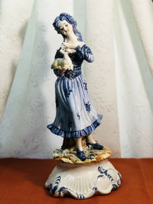 Capodimonte Blue & White Porcelain Figure By Dario Per Florentine. Made In Italy