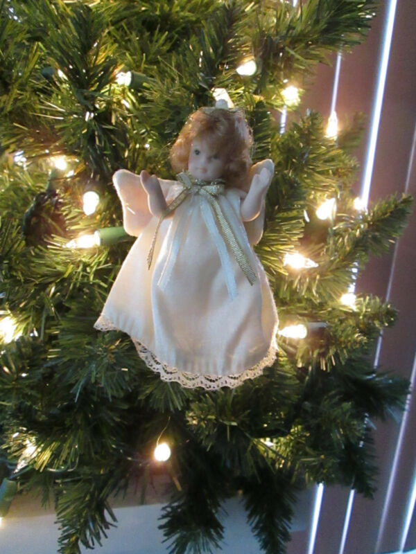 4 1/2 Inch Jointed Porcelain Angel Doll Christmas Ornament, Blond Hair, New