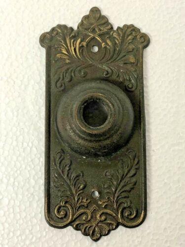 Vtg Brass Art Noveau Push Domed Door Bell Cover Plate Escutcheon Victorian