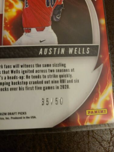Austin Wells 2020 Panini Prizm Draft Picks Power Surge Disco Refractor 35/50 - $15.00