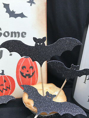 Handmade Set of x 10 Halloween Glitter Bats for Party Cupcakes / food Toppers