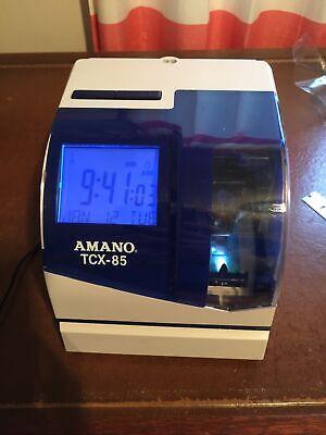 Amano Tcx-85 Electronic Ribbon Print Time Clock W Power Supply Works